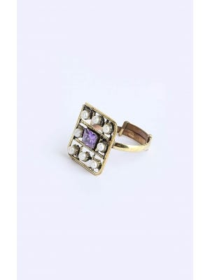 Simulated Stone Studded Brass Ring