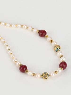 Pearl and Simulated Stone Studded Necklace