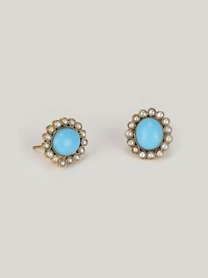 Pearl and Simulated Stone Studded Brass Earrings