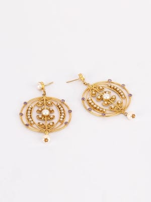 Simulated Stone and Pearl Studded Brass Earrings