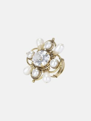 Simulated Stone and Pearl Studded Brass Ring