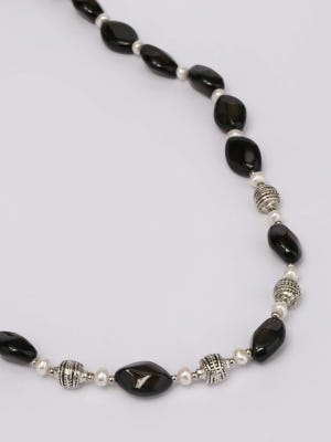 Pearl and Simulated Stone Studded Silver Necklace