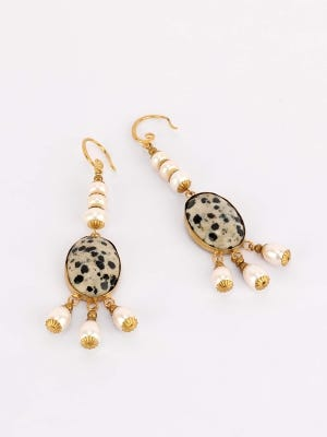 Beads and Pearl Studded Earrings