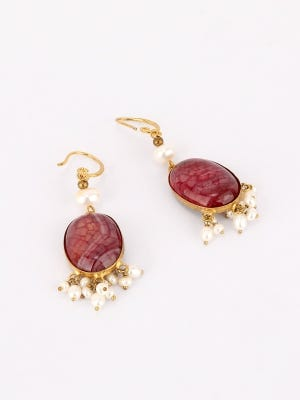 Simulated Stone and Pearl Studded Earrings