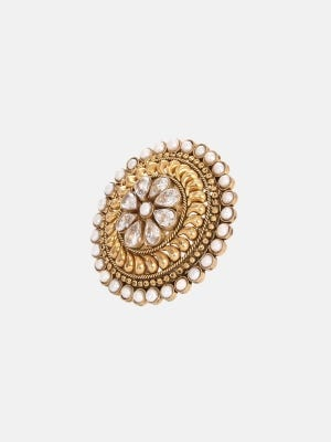 Pearl Studded Brass Ring