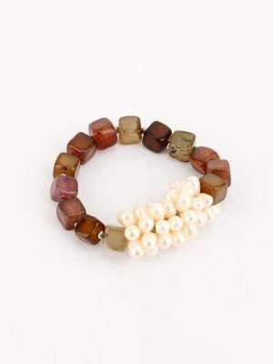 Pearl and Simulated Stone Bracelet