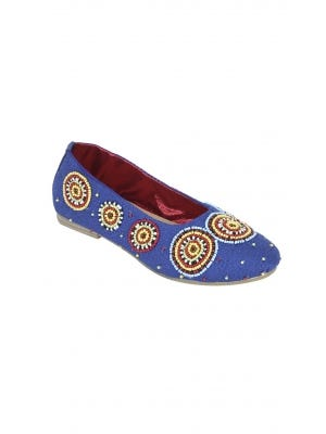 Blue Erri Embroidered Cotton Pump Shoes
