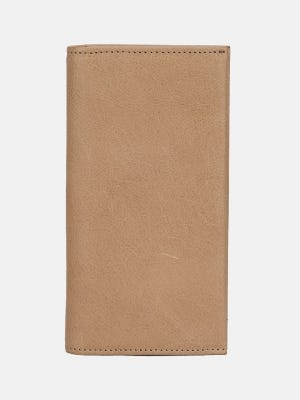 Beige Leather Wallet-Mobile Holder
