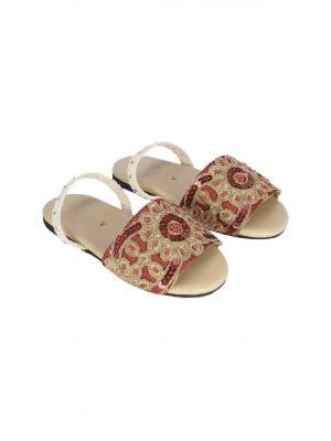 Red Embroidered Faux Leather Sandal