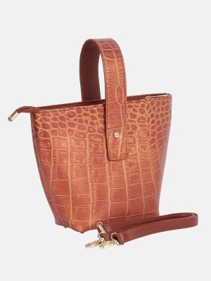 Metallic Copper Embossed Leather Bag
