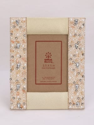 Embroidered Leather Photo Frame