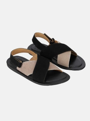Grey and Black Suede Leather Sandal