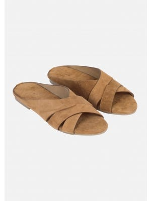 Light Brown Suede Leather Sandals