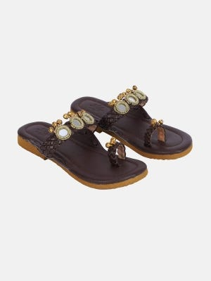 Brown Faux Leather Sandal