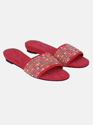 Deep Pink Embroidered Faux Leather Sandals