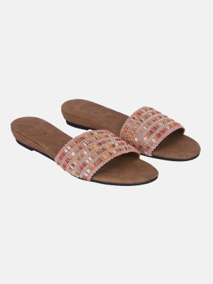 Light Brown Embroidered Faux Leather Sandals