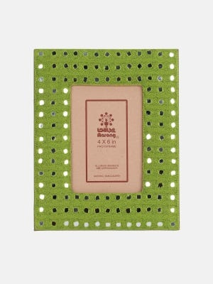 Olive Erri Embroidered Faux Leather Photo Frame