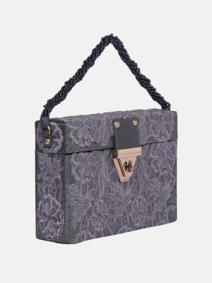 Grey Embroidered Fabric Purse