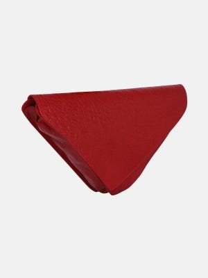 Red Embossed Leather Purse