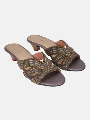 Grey Faux Leather Heel Sandals