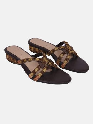 Brown Faux Leather Heel Sandals