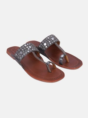 Brown Erri Embroidered Leather Sandals