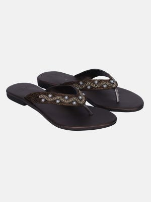 Coffee Embroidered Faux Leather Sandal