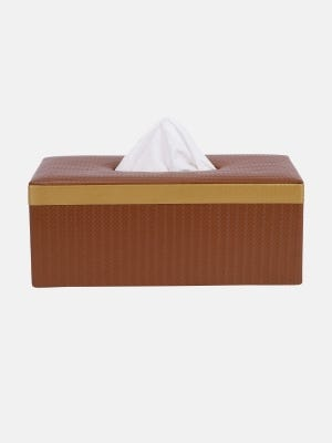 Brown Embossed Leather Tissue Box