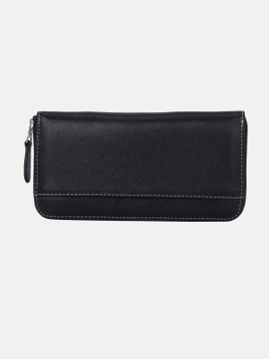 Black Vegetable Tanned Leather Women Wallet