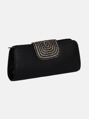 Black Embroidered Leather Purse