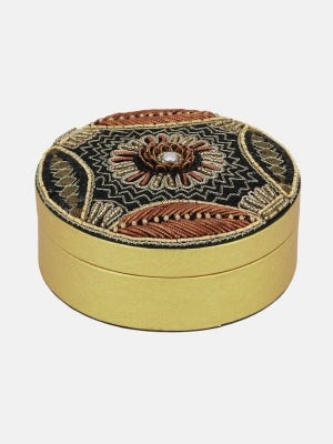 Golden Erri Embroidered Faux Leather Jewellery Box