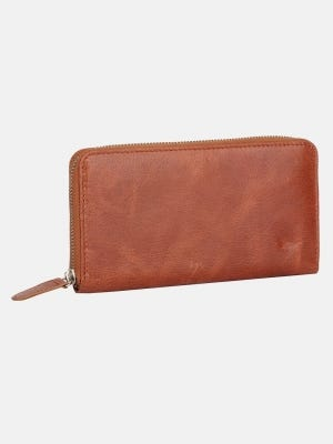 Tan Vegetable Tanned Leather Women Wallet