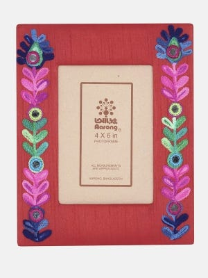 Red Embroidered Mixed Silk Chosha Photo Frame