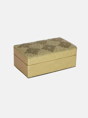 Golden Faux Leather Jewellery Box