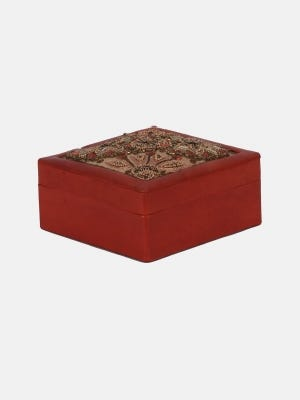 Brown Embroidered Leather Jewellery Box