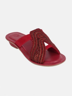 Red Embroidered Sandals