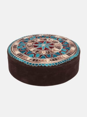 Deep Brown Embroidered Velvet Jewellery Box