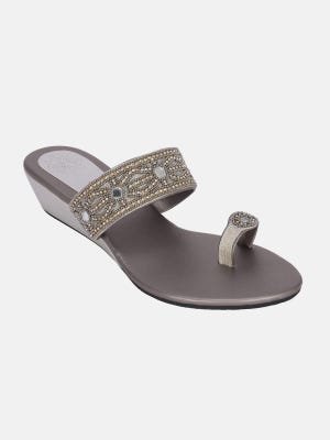 Grey Embroidered Leather Sandal