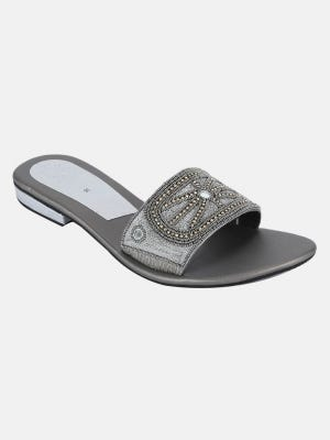 Grey Embroidered Faux Leather Sandal