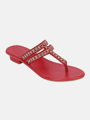 Red Erri Embroidered Leather Sandal