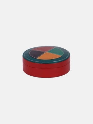 Multi Colored Stitched Leather Ring Box