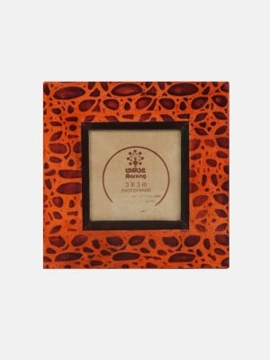 Tan Embossed Leather Photo Frame