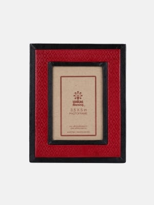 Red Embossed Leather Photo Frame