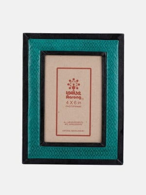 Teal Embossed Leather Photo Frame
