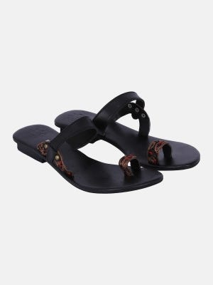 Black Embroidered Leather Sandals