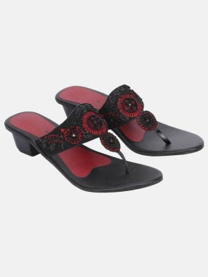Black Embroidered  Leather Sandal
