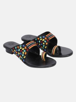 Black Embroidered Sandals