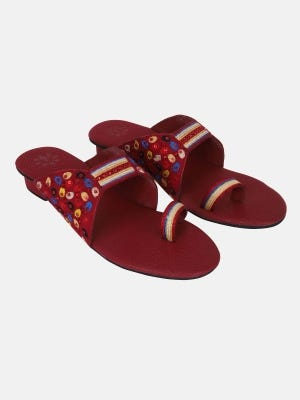 Red Embroidered Leather Sandals