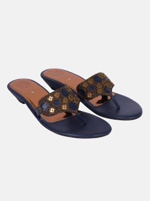 Blue Embroidered Leather Sandals
