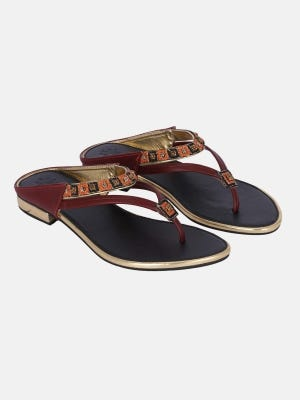 Maroon Embroidered Leather Sandals